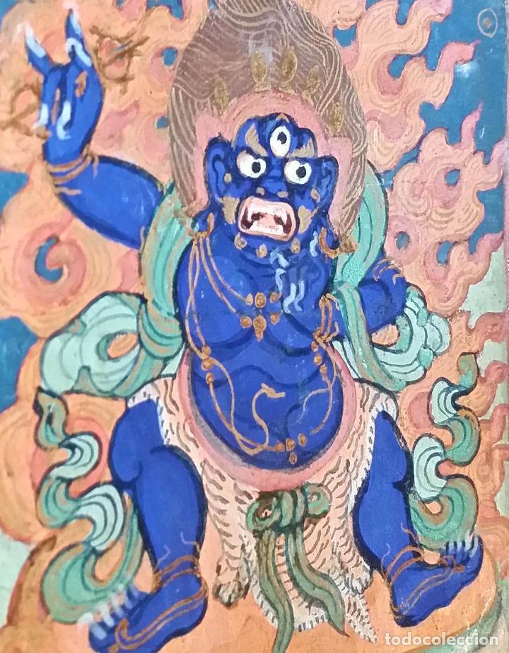 Arte: TIBET, dibujo a gouache, deidad, siglo XIX - Foto 3 - 145972102