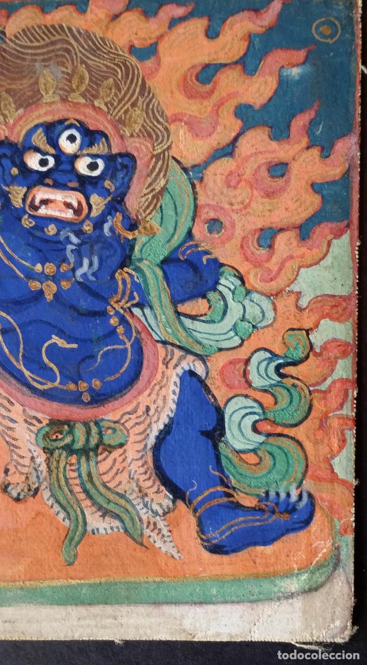 Arte: TIBET, dibujo a gouache, deidad, siglo XIX - Foto 4 - 145972102