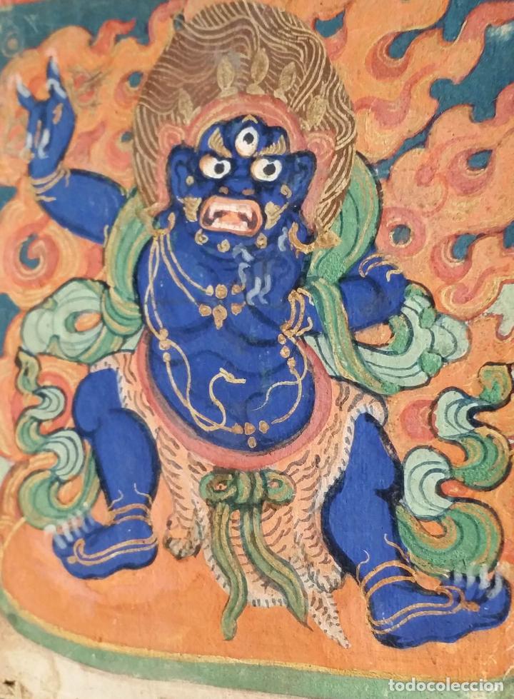 Arte: TIBET, dibujo a gouache, deidad, siglo XIX - Foto 8 - 145972102
