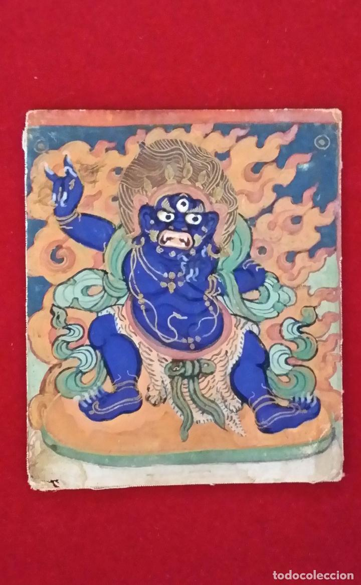 Arte: TIBET, dibujo a gouache, deidad, siglo XIX - Foto 9 - 145972102
