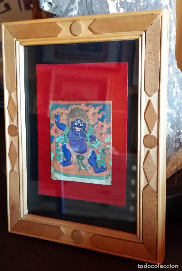 Arte: TIBET, dibujo a gouache, deidad, siglo XIX - Foto 10 - 145972102