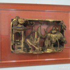 Arte: ANTIGUO RELIEVE ORIENTAL - CHINA - TALLA DE MADERA DORADA - SOBRE METRAQUILATO Y MARCO -S. XVIII-XIX. Lote 146138858