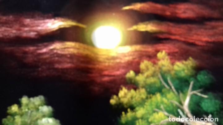 Arte: Bella tela Tailandésa Tela de Terciopelo Negro Acrílico Arte Pintura Al Óleo. Firmado. - Foto 3 - 146371502