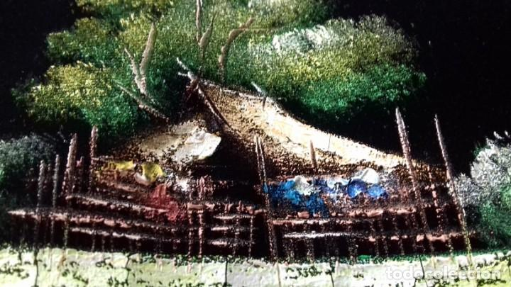 Arte: Bella tela Tailandésa Tela de Terciopelo Negro Acrílico Arte Pintura Al Óleo. Firmado. - Foto 4 - 146371502
