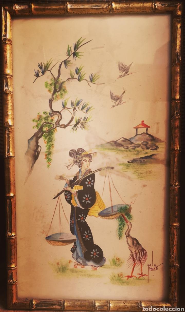 ACUARELA ORIENTAL, FIRMADA. MUJER CON BALANZA. 47X27 (Arte - Étnico - Asia)