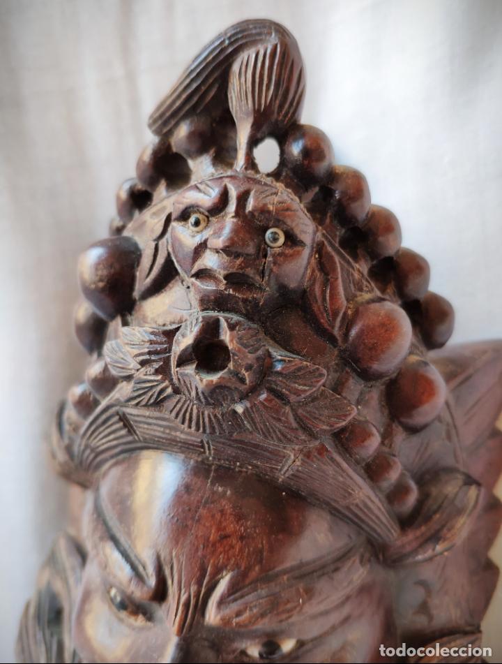 Arte: ANTIGUA MASCARA TALLADA EN MADERA CAOBA CON DETALLES EN HUESO - ASIA - ESPECTACULAR - Foto 3 - 147321002