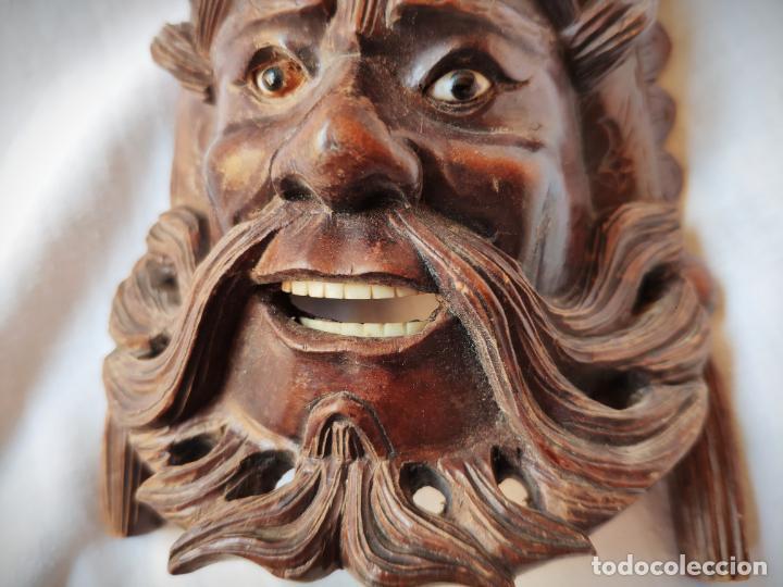 Arte: ANTIGUA MASCARA TALLADA EN MADERA CAOBA CON DETALLES EN HUESO - ASIA - ESPECTACULAR - Foto 4 - 147321002