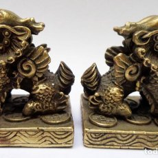 Arte: 2 PESOS EN BRONZE CHINOS PARA SCROLLS ( PINTURAS ) SIGLO XX. Lote 147496542
