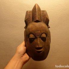 Arte: ANTIGUA MASCARA AFRICANA DE MADERA TALLADA, ORIGINAL, DE TRIBU BAULE DE COSTA DE MARFIL, AFRICA.. Lote 147657198