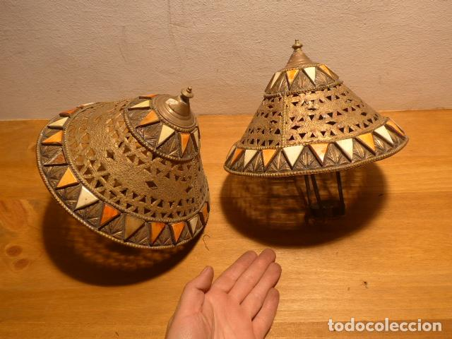 ANTIGUA 2 LAMPARA DE ARTE AFRICANA, ORIGINAL. EN HIERRO, DE AFRICA. (Arte - Étnico - África)