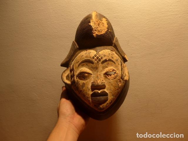 ANTIGUA MASCARA AFRICANA DE MADERA TALLADA, ORIGINAL, DE TRIBU PUNO DE GABON, AFRICA. (Kunst - Ethnische - Afrika)