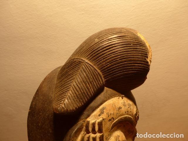 Kunst: Antigua mascara africana de madera tallada, original, de tribu Puno de Gabon, Africa. - Foto 6 - 147659002