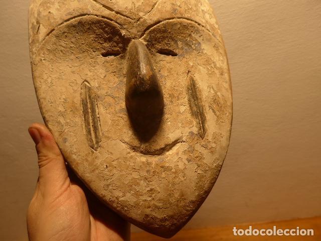 Arte: Antigua mascara africana de madera tallada, original, de tribu de Gabon, africa. - Foto 3 - 147659126