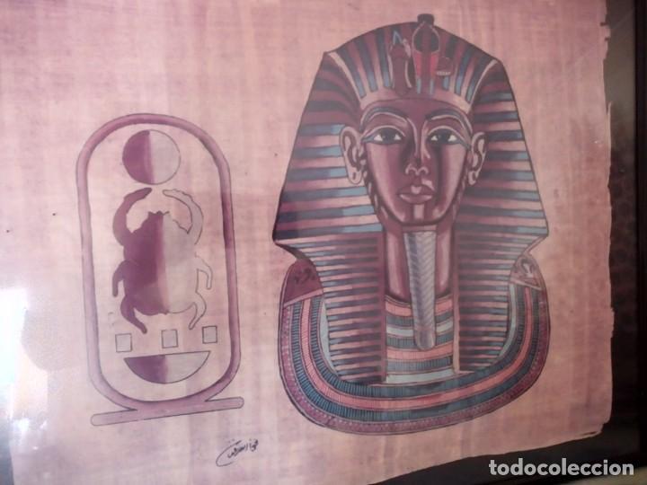 Arte: Precioso papiro con imagen de faraón tuntankamon, firmado.color poco común. Enmarcado. - Foto 2 - 147831346