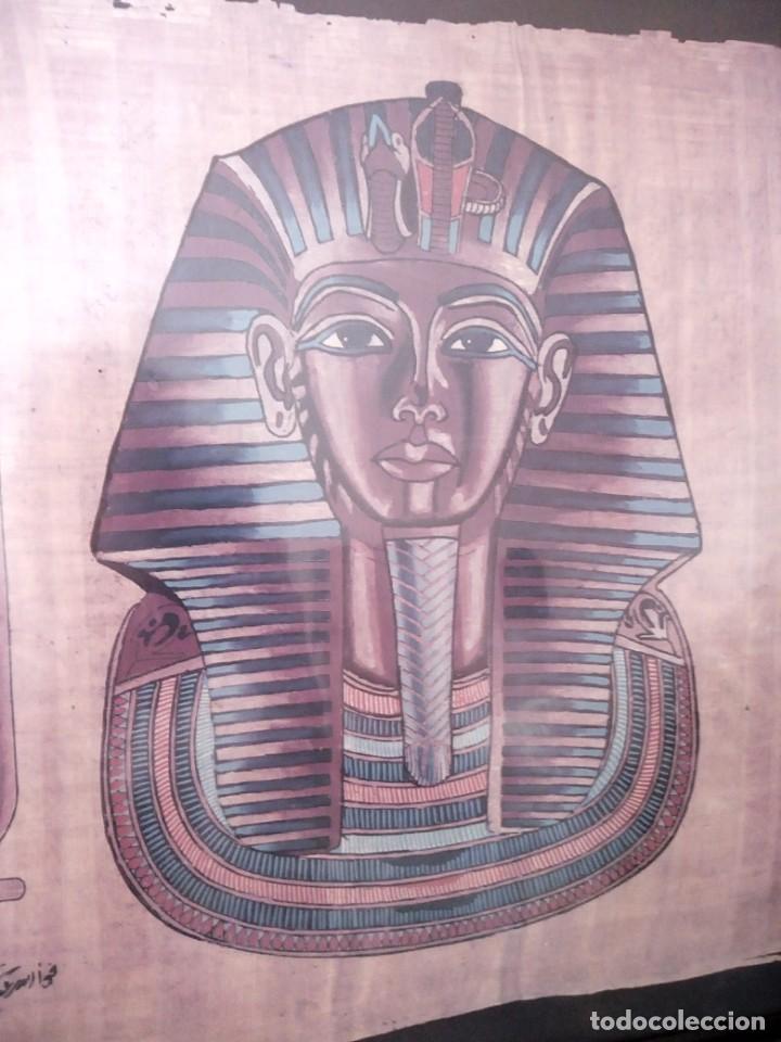 Arte: Precioso papiro con imagen de faraón tuntankamon, firmado.color poco común. Enmarcado. - Foto 4 - 147831346