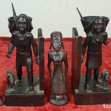 Arte: COLECCIÓN DE 5 ESCULTURAS AFRICANAS. MADERA AFRICANA TALLADA. SIGLO XX. . Lote 148001686