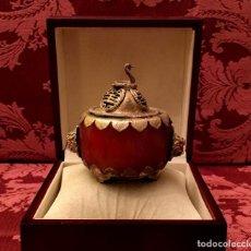 Arte: INCENSARIO CHINO EN AGATA NATURAL Y PLATA TIBETANA - 103 GRAMOS.. Lote 148038098