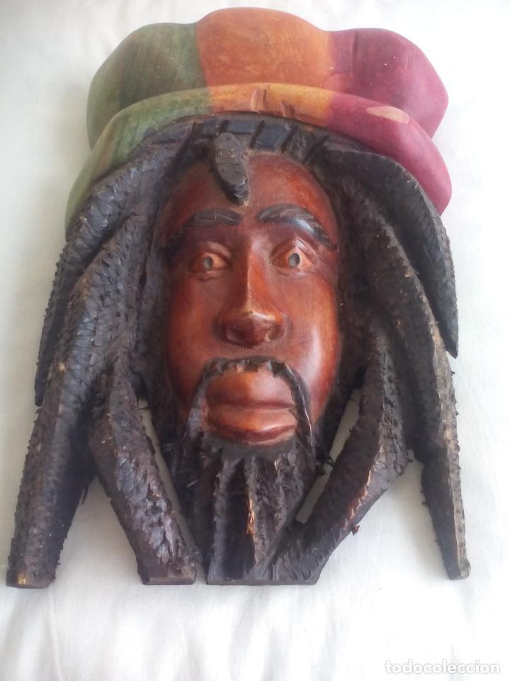 Arte: TALLA MADERA RASTA RASTAFARI DE JAMAICA, tallada a mano. BOB MARLEY - Foto 2 - 148152482