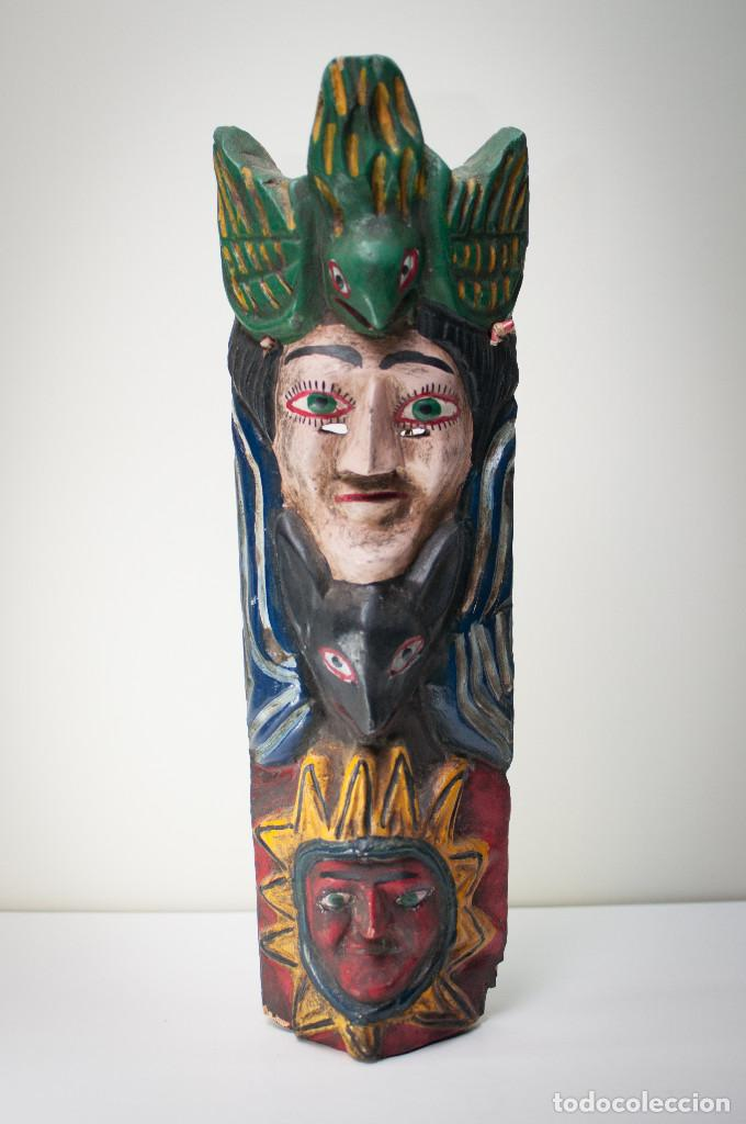 ANTIGUA MÁSCARA GUERRERO MEXICANO TALLA MADERA - MEDIADOS SIGLO XX - 55 CM (Arte - Étnico - América)