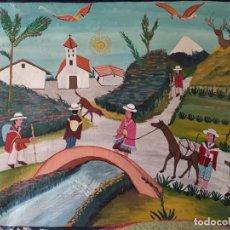 Arte: CUADRO DE JULIO TOAQUIZA. PINTURA INDÍGENA. PINTADO SOBRE CUERO. FIRMADO. 30 CM X 35.5 CM. Lote 149827286