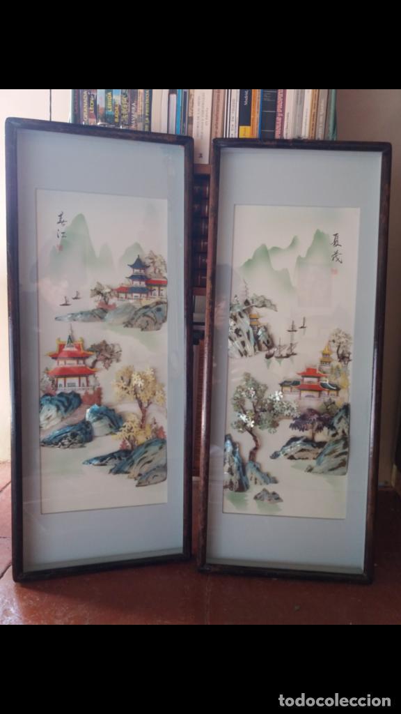 PAREJA DE BELLÍSIMOS CUADROS CHINOS (Arte - Étnico - Asia)