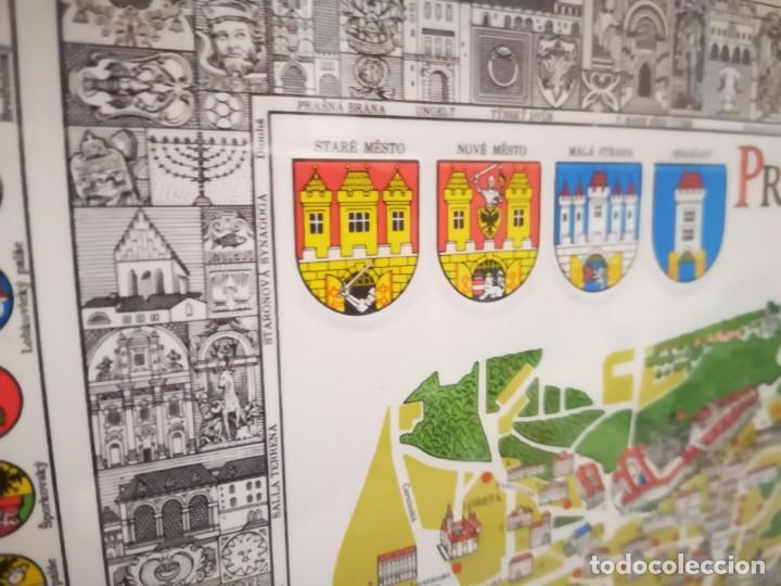 Arte: PLANO DE PRAGA CON ESCUDOS HERÁLDICOS Y RELIEVES. - Foto 2 - 150027798