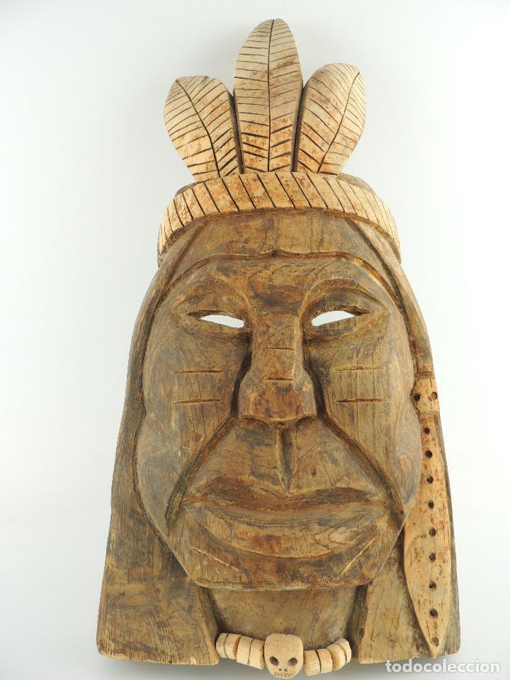 EXCELENTE ANTIGUA MÁSCARA DE AMÉRICA LATÍN INDIA MADERA LIGERA PRECIOSA PIEZA (Arte - Étnico - América)