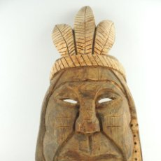 Arte: EXCELENTE ANTIGUA MÁSCARA DE AMÉRICA LATÍN INDIA MADERA LIGERA PRECIOSA PIEZA. Lote 150278194