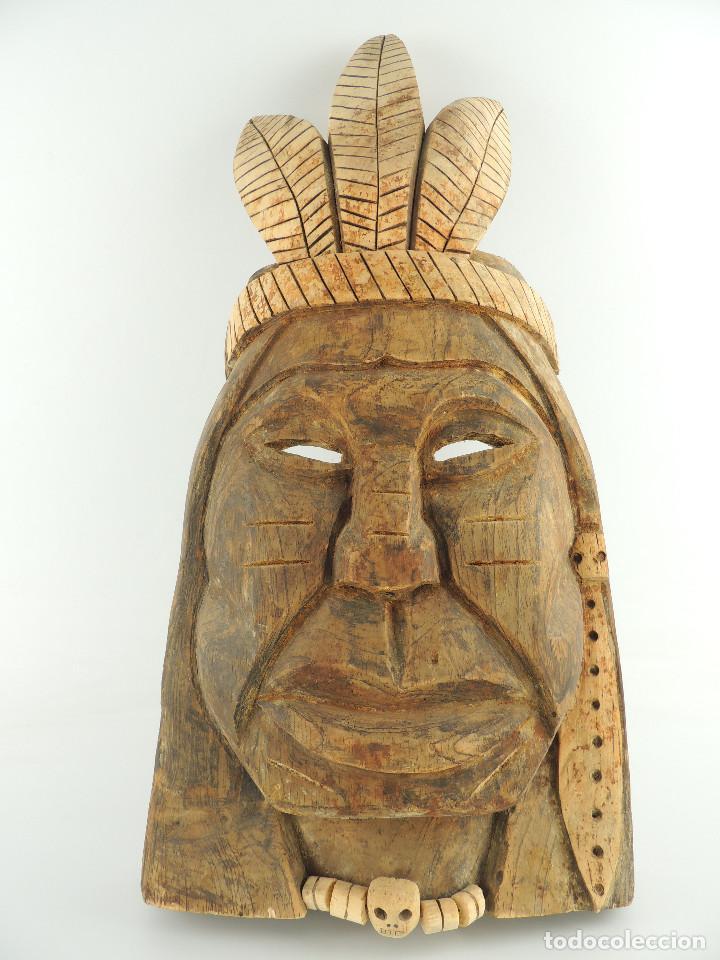 Arte: Excelente Antigua Máscara de América Latín India Madera Ligera preciosa Pieza - Foto 2 - 150278194