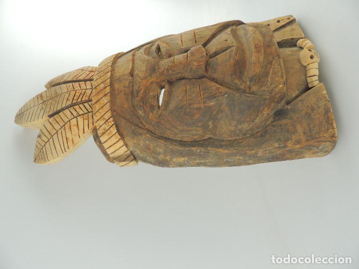 Arte: Excelente Antigua Máscara de América Latín India Madera Ligera preciosa Pieza - Foto 4 - 150278194
