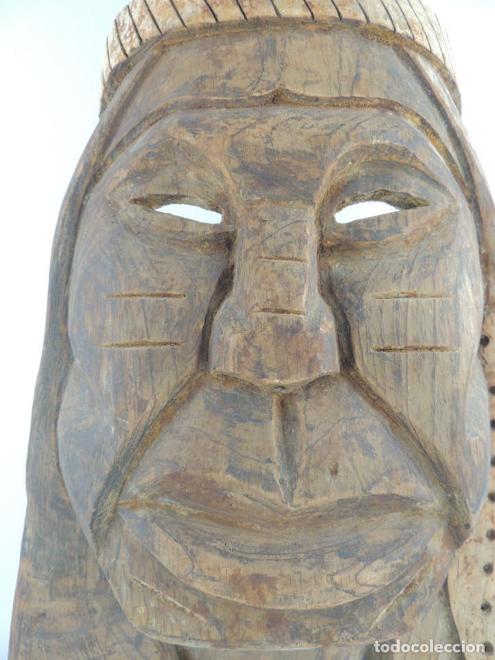 Arte: Excelente Antigua Máscara de América Latín India Madera Ligera preciosa Pieza - Foto 5 - 150278194