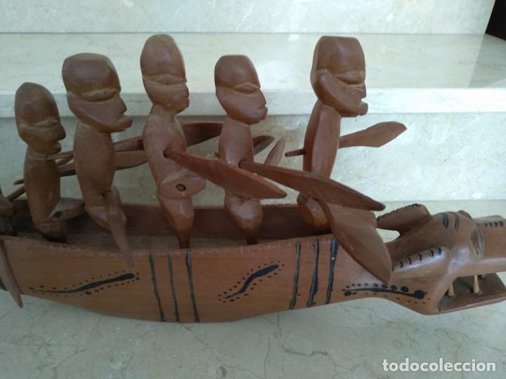 BARCO MADERA TALLADA AFRICANO AFRICA ORIGINAL (Arte - Étnico - África)