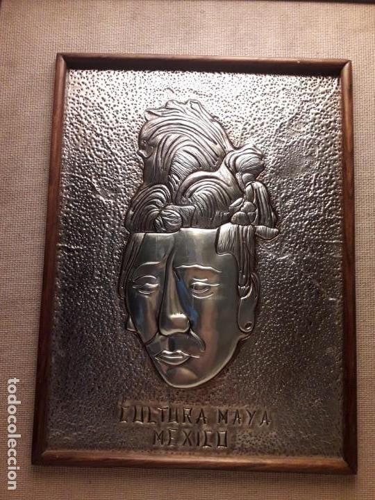 Arte: Precioso cuadro repujado Cultura Maya México Gran Pakal - Foto 3 - 151318666