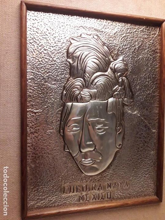 Arte: Precioso cuadro repujado Cultura Maya México Gran Pakal - Foto 4 - 151318666