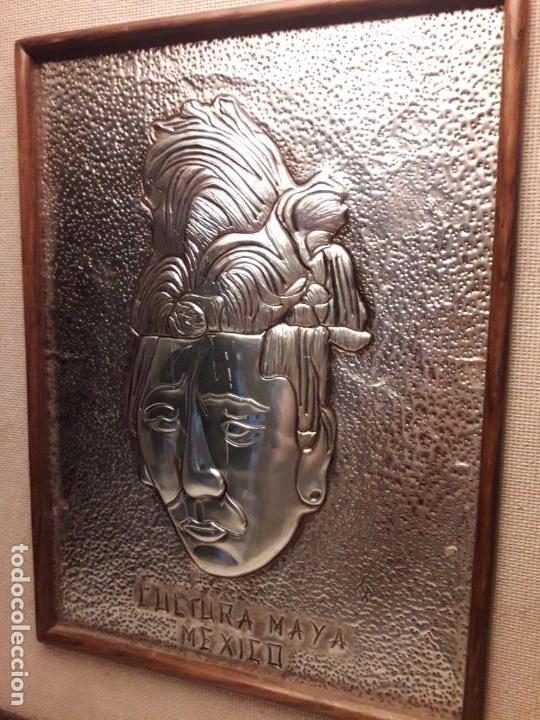 Arte: Precioso cuadro repujado Cultura Maya México Gran Pakal - Foto 6 - 151318666