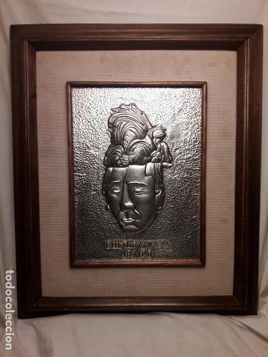 Arte: Precioso cuadro repujado Cultura Maya México Gran Pakal - Foto 7 - 151318666