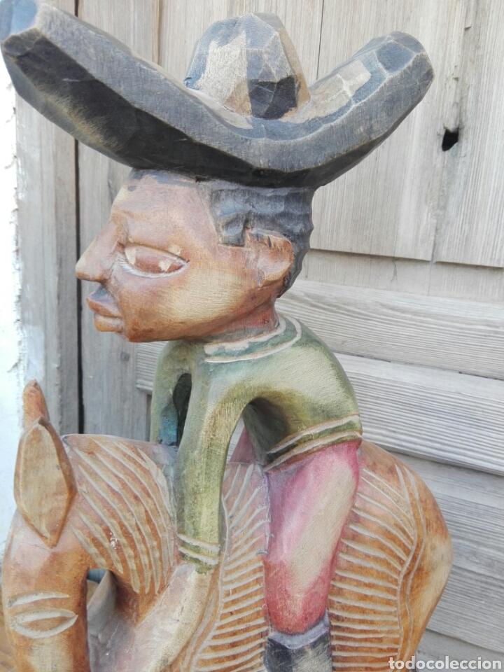 Arte: Enorme talla figura policromada hombre Mexicano caballo Folclore decorar restaurantes 45 cm MEXICO - Foto 11 - 151503394