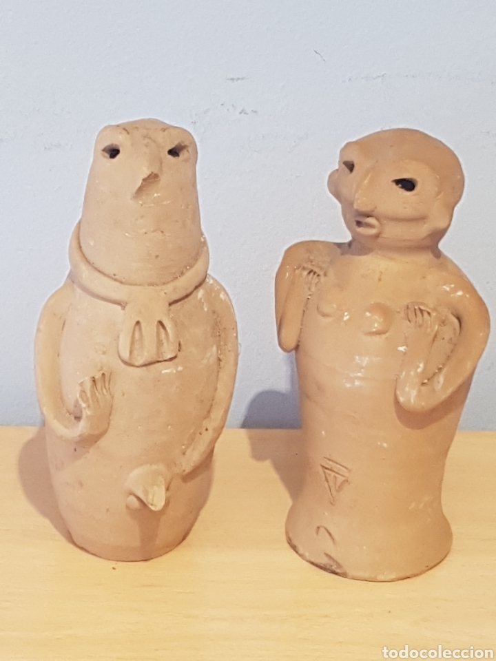 FIGURAS DE CERÁMICA IBIZA CULTURA PÚNICA HOMBRE Y MUJER (Arte - Étnico - América)