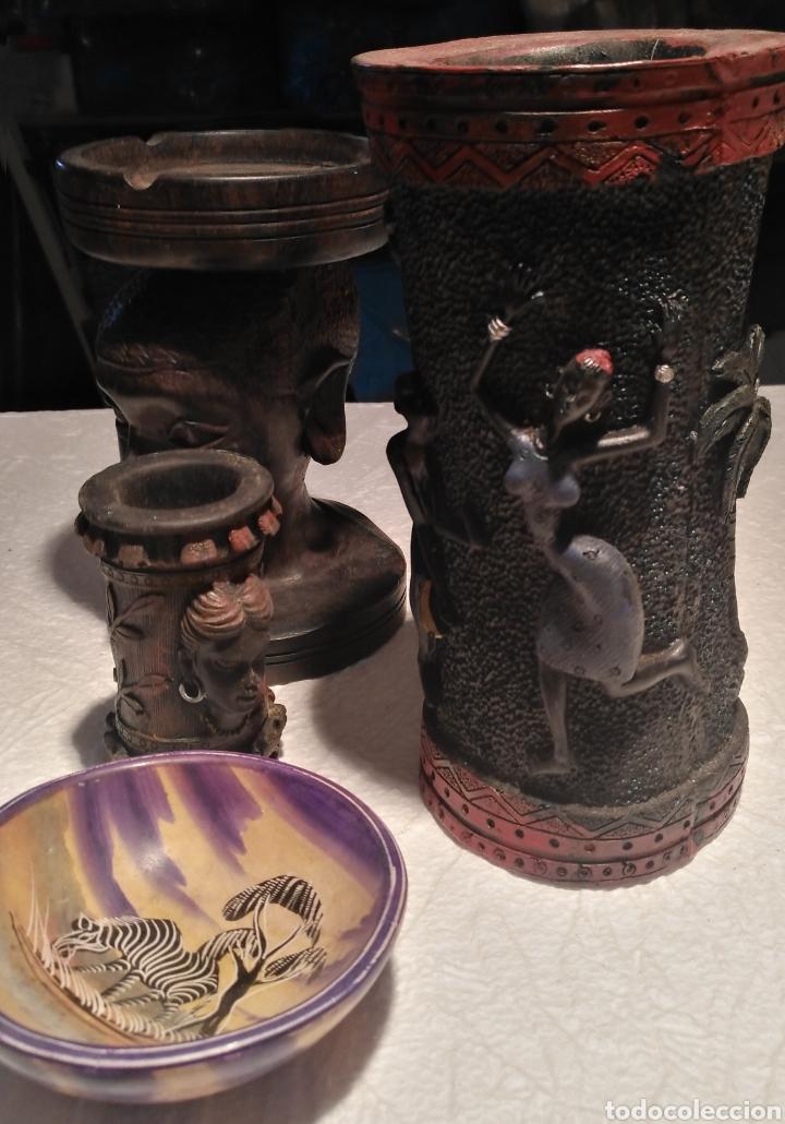 Arte: Set artículos étnico-florero-cenicero de ebano-cuenco pasa llaves-bote - Foto 2 - 151626216