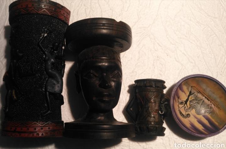 Arte: Set artículos étnico-florero-cenicero de ebano-cuenco pasa llaves-bote - Foto 3 - 151626216