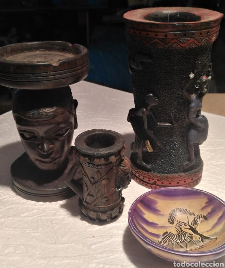 Arte: Set artículos étnico-florero-cenicero de ebano-cuenco pasa llaves-bote - Foto 4 - 151626216