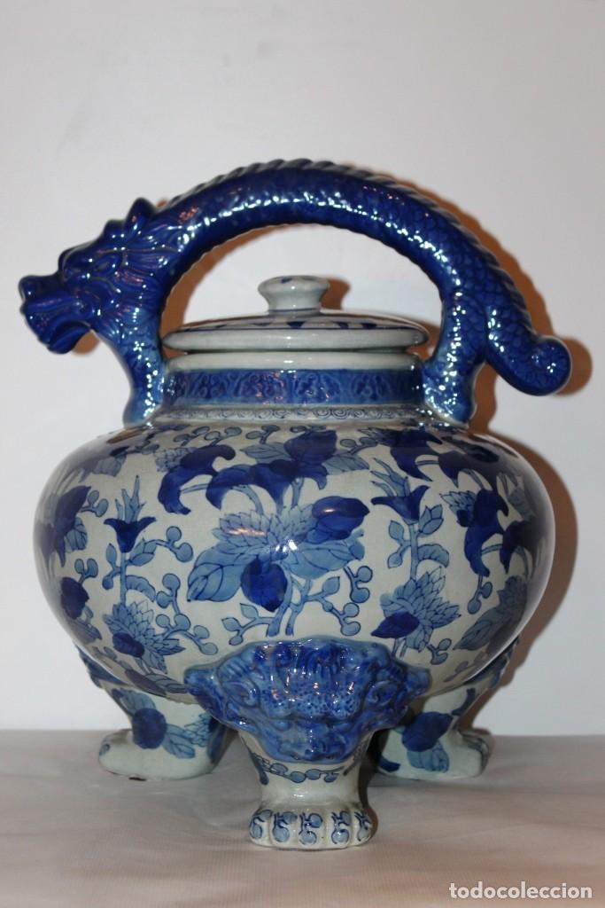 Arte: Incensario chino. Años 60´s - Porcelana - China - Sello Qianlong - Foto 2 - 152378346