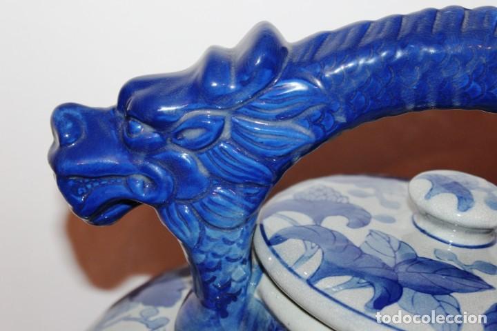 Arte: Incensario chino. Años 60´s - Porcelana - China - Sello Qianlong - Foto 4 - 152378346