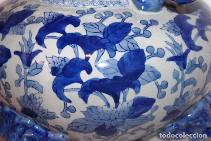 Arte: Incensario chino. Años 60´s - Porcelana - China - Sello Qianlong - Foto 10 - 152378346