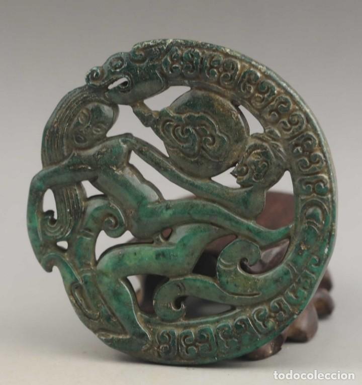 ESCULTURA DE JADE / ROCA - FIGURA EROTICA Y DRAGON - SUERTE (Arte - Étnico - Asia)