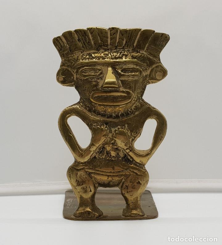 ESCULTURA DE LA CULTURA INCA, IMAGEN DEL DIOS WIRACOCHA MITOLOGIA PRE-INCA EN BRONCE CINCELADO . (Arte - Étnico - América)