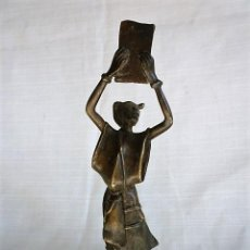 Arte: FIGURA ETNICA EN BRONCE CON PATINA - LIDER RELIGIOSO AFRICANO INVOCANDO –. Lote 153792506