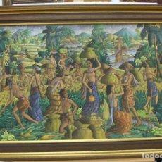 Arte: ESPECTACULAR PINTURA DE BALI FIRMADA CON MARCO. Lote 229288100