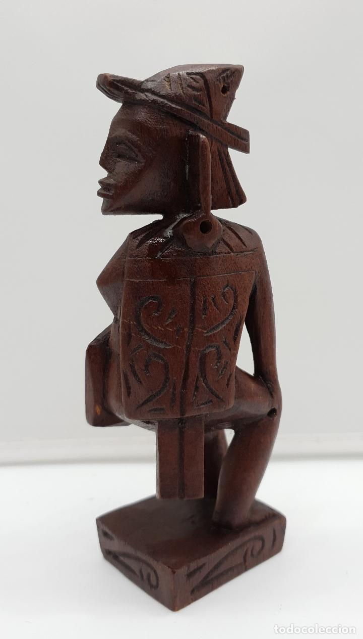 Arte: Talla antigua de guerrero indígena bellamente tallado a mano en madera . - Foto 4 - 154104634