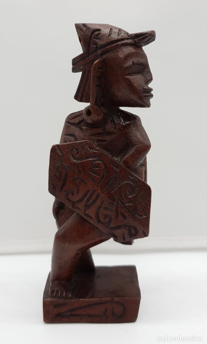 Arte: Talla antigua de guerrero indígena bellamente tallado a mano en madera . - Foto 6 - 154104634